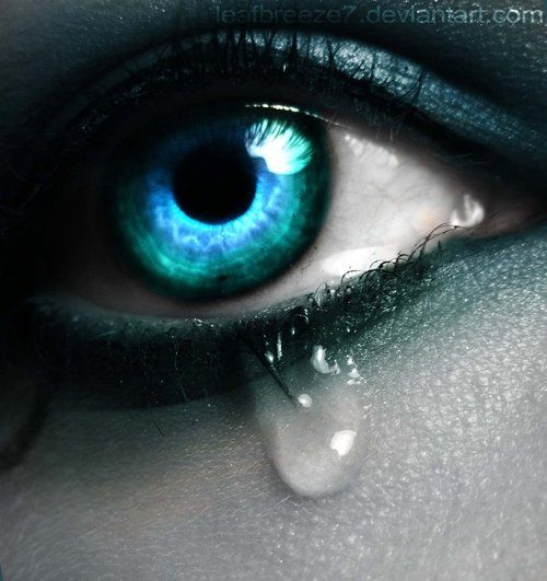 Eye, edited, blue hues, monochromatic, glowing, reflective, crying, sad, bold.