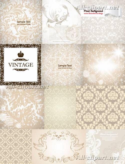 Светлые винтажные фоны с цветочным узором - вектор | Vintage Light Vector Backgrounds