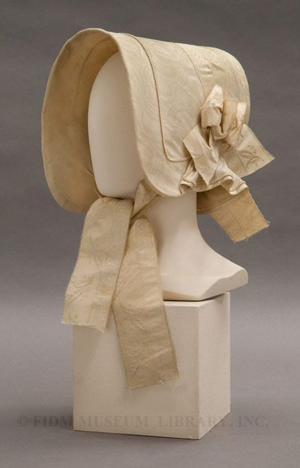 Silk and Cotton Bonnet, circa 1845. From the online collections of the Fashion Institute of Design & Merchandising (FIDM) Museum.