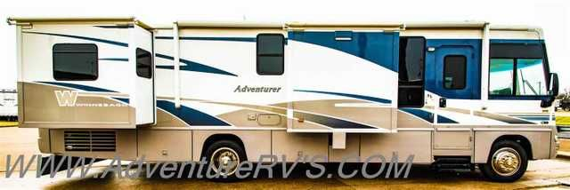 2005 Used Winnebago Adventure 35A Class A in Texas TX.Recreational Vehicle, rv, 2005 Winnebago Adventure 35A, 2005 Winnebago ADVENTURE 35A GREAT FLOOR PLAN**3 SLIDES**WORKHORSE CHASSIS Very nice and clean coach. This WINNEBAGO ADVENTURE is ready for the highway. Built on the WORKHORSE CHASSIS with the 8.1 chevy matched with a ALLISON transmission and only 58k miles, this coach has lots of life left. Some of the features include GENERATOR BASEMENT A/C & HEAT PUMP OUTSIDE TV LEVELING JACKS…