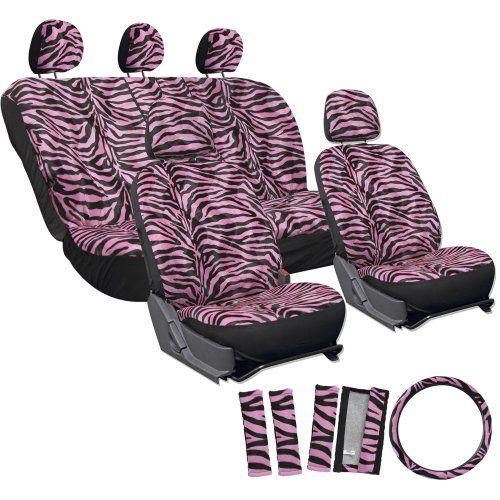 OxGord 17pc Set Zebra Animal Print Auto Seat Covers Set - Front Low Back Buckets - Rear Split Bench - Pink & Black