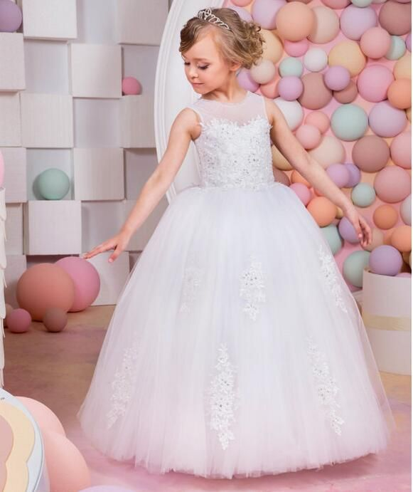 First Communion Graduation Wedding Flower Girl Dress Gown for Kid Birthday Party