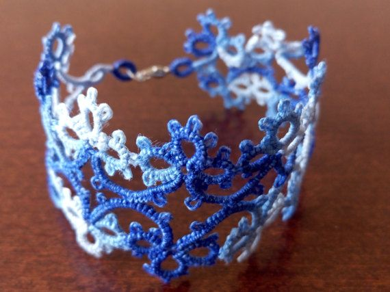 Blue and White Tatted Lace Bracelet Blue and White by EstaTatting