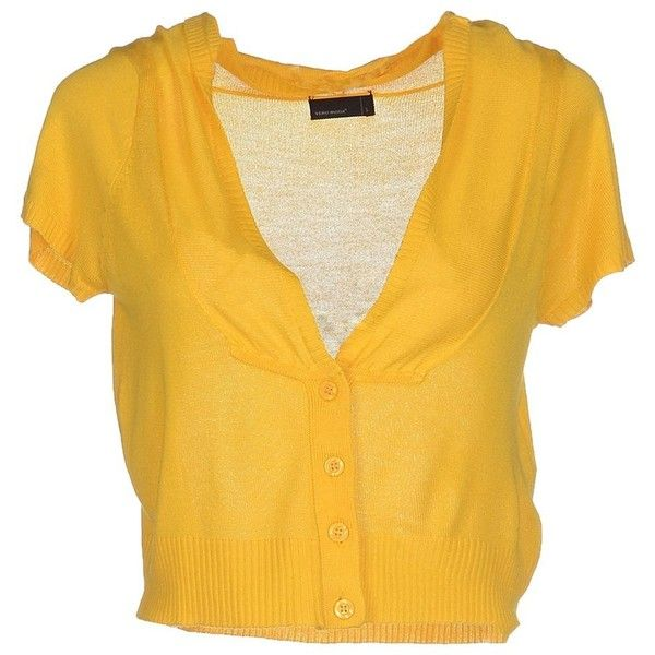 Vero Moda Cardigan ($40) ❤ liked on Polyvore featuring tops, cardigans, yellow, short sleeve tops, short-sleeve cardigan, cardigan top, yellow cardigan and viscose tops