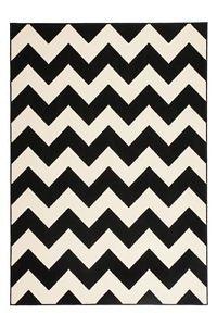 Designer-Teppich-Schwarz-Weiss-Kurzflor-Teppich-Vintage-Zacken-Wellen-70er-Jahre