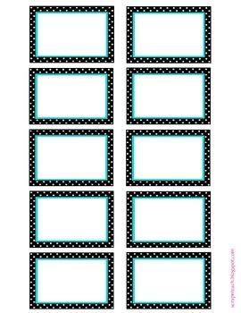Classroom organization labels (aqua and black/white polka dot)