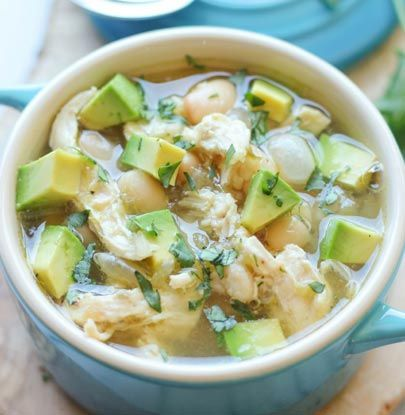 5-Ingredient White Chicken Chili. Made this tonight...it's awesome! I used lowfat cheese & lowfat sour cream as a little topping. Lowfat & filling!