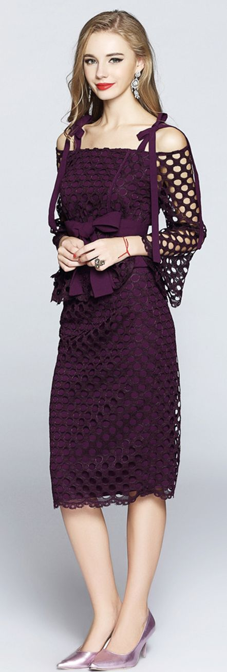 Purple Hollow Out Two Piece Dress