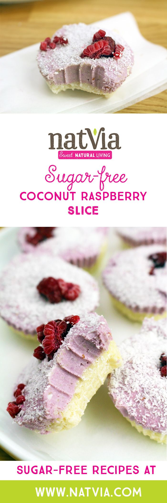 Combing two of the freshest, fruity flavours, these #Coconut and #Raspberry #Slices taste just as creamy as they look. #Natvia #Healthy #Dessert #Recipes