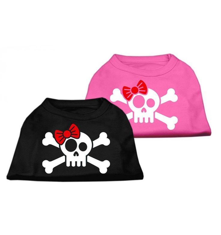 La camiseta con calavera impresa es perfecta para pasear con su perro. Tiene un diseño original con una calavera con un lazo rojo ideal para cachorros y adultos que llamará la atención de todos. Disponible en color negro y rosa y distintos tamaños: XS, S, M, L, XL.