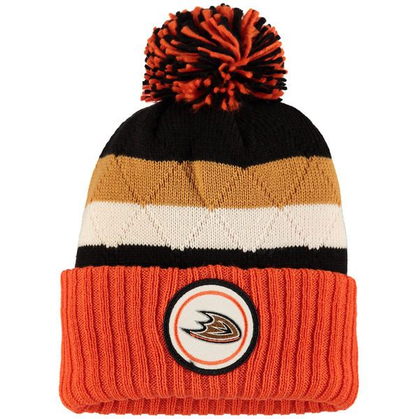 1b155e4eab1 ... hat with pom 8ef0a cac38  cheap mens anaheim ducks mitchell ness orange  black quilted crown jersey stripe hi five cuffed knit
