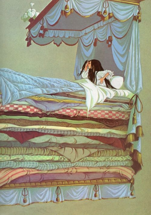"""""""The Princess and the Pea""""    Illustration by Janet & Anne Grahame Johnstone. This artwork is from Dean's: A Book of Fairy Tales, 1977 edition."""