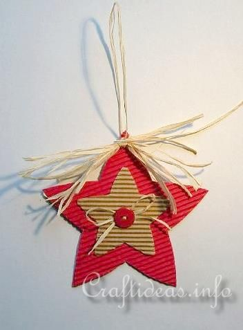 Corrugated Cardboard Christmas Star Ornament (without the raffia-use different types of paper)