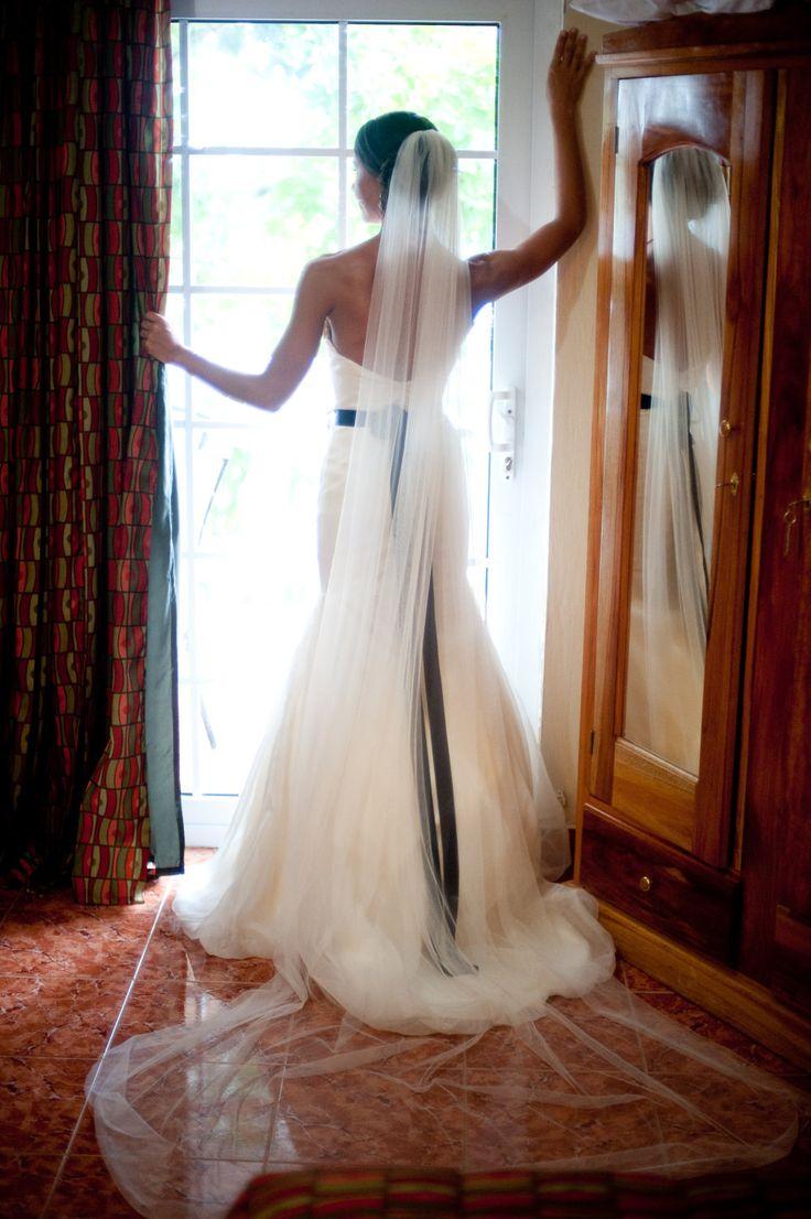 Straight chapel length Wedding Bridal Veil 90 inches white, ivory or diamond. $34.99, via Etsy.