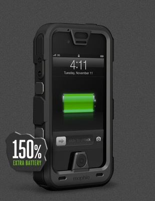 Mophie Juice Pack Pro Rugged Travel Battery Case For Iphone 4