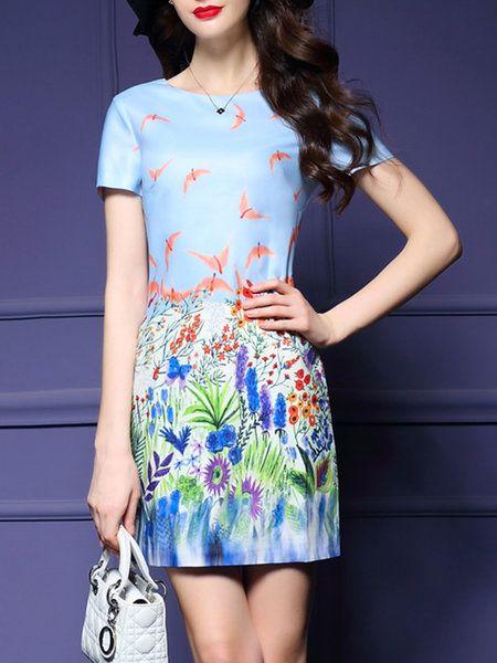 Shop Mini Dresses - Light Blue Printed Short Sleeve Crew Neck Floral Mini Dress…