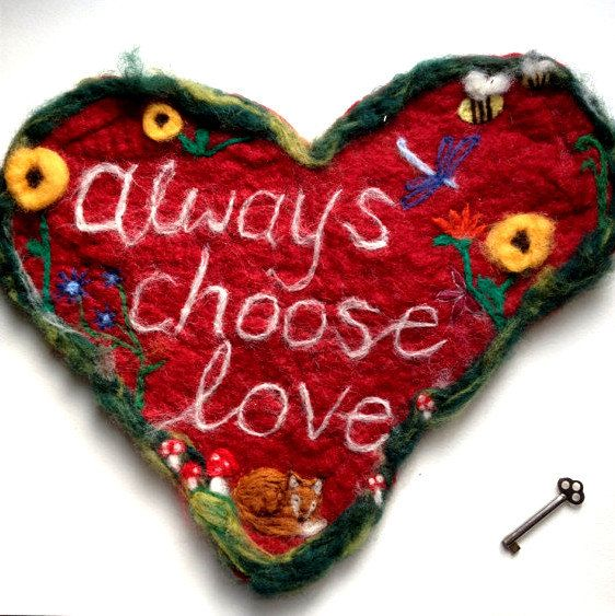 Always choose love - felted wall hanging - fox, sunflower, toadstool - newly wed present
