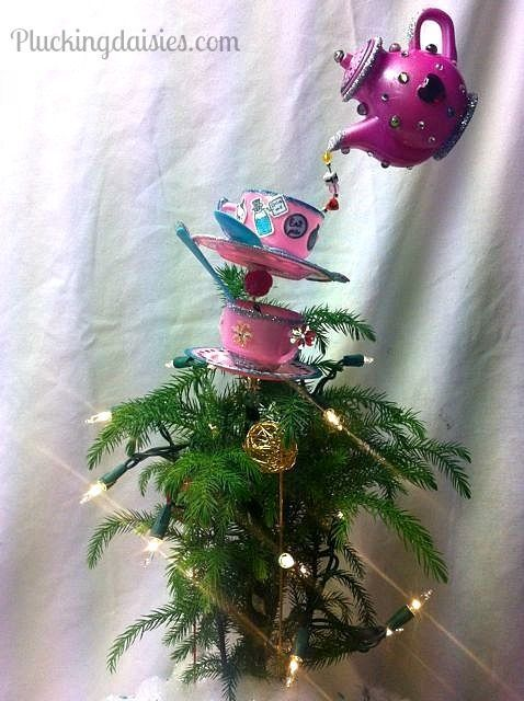 Alice in wonderland tree centerpiece found on for Five homemade christmas tree topper ideas