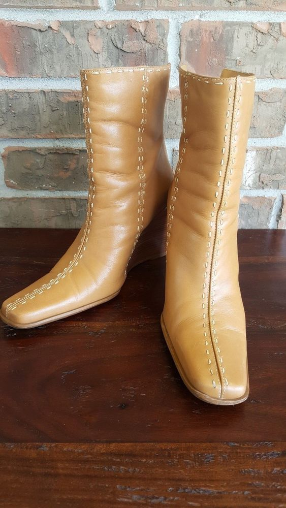 Diba USA Elco Wedge Beige Boots Size 7 1/2 #Diba #Elco #Casual