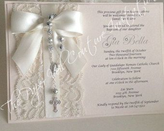 Lacey - Vintage Lace Pearl Rosary Beads Couture Baptism or Communion Invitation - An exclusive one-of-a-kind design by The Paper Veil.  Our