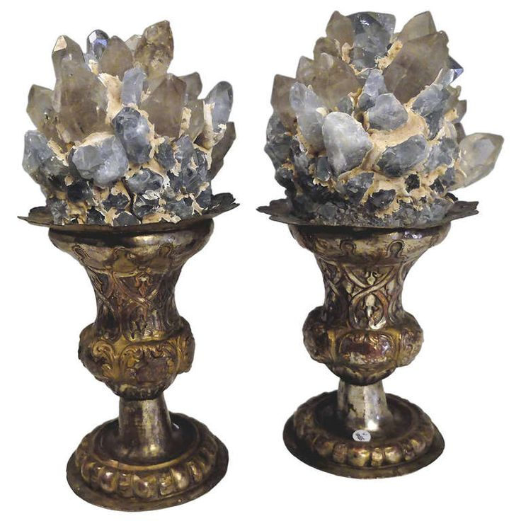 A Wunderkammer Naturalia Mineral Specimen: A Couple of Aquamarine Crystals and Crystal Druzes | From a unique collection of antique and modern decorative objects at http://www.1stdibs.com/furniture/more-furniture-collectibles/decorative-objects/