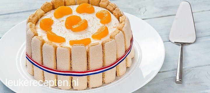 Leuk en lekker recept voor een oranje 'kroon' met mandarijn, yoghurt en lange vingers