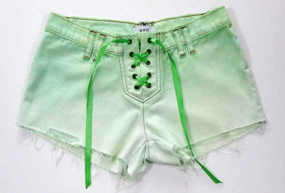 ★ Glamorous Green ★ Mint Green Jean Shorts Size 8 Ombre Dip Dyed Denim Lace Up Cut-Off Hotpants