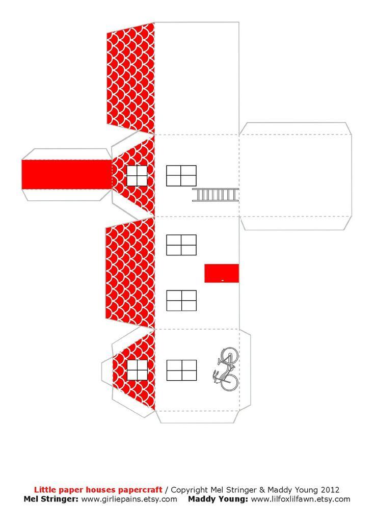 Molde cajita techo rojo