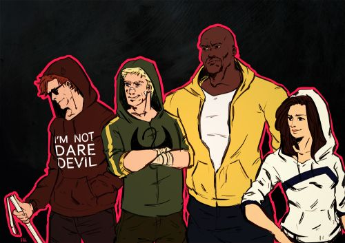 [Image: Matt Murdock, Danny Rand, Luke Cage, and Jessica Jones standing together; all wearing hoodies in their uniform colours] isacchili: My favourite street superhero family will be getting their own shows on Netflix: Yay! Netflix isn't available in Malaysia: NAY My feelings are conflicted. But if there's one thing I know I totally support Gideon Emery as Matt Murdock.