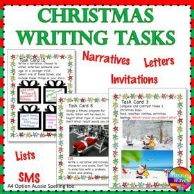 Grade / Year Level :: Primary Education :: Year 3 - 6 :: CHRISTMAS WRITING Activities Literacy Centre Task Cards Individual Fun Ideas