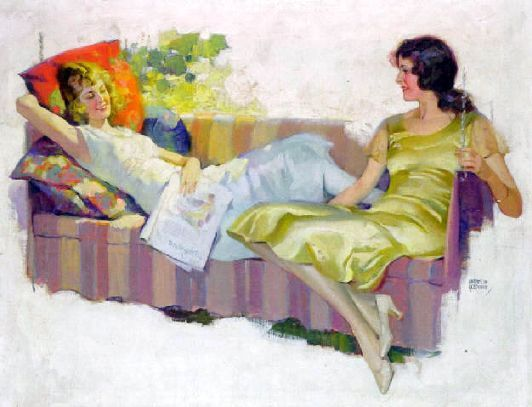 Two Young Women Lounging On Porch Swing