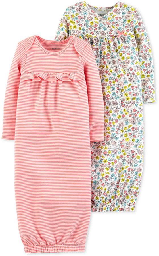d0c136234f57 Carter s Baby Girls 2-Pack Cotton Sleeper Gowns - Pink Newborn in ...