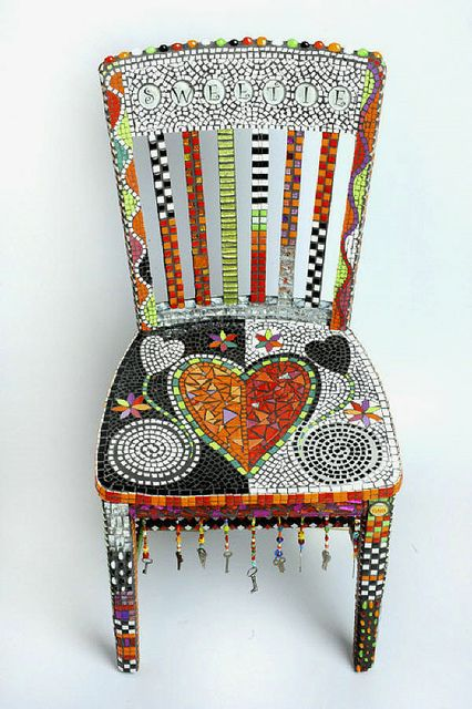 Mosaic tile covered chair.