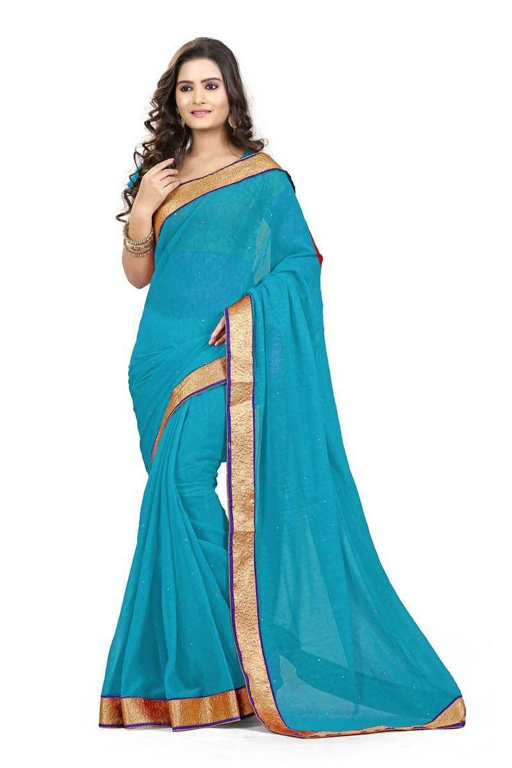 Sky Blue Chiffon Party Wear Saree
