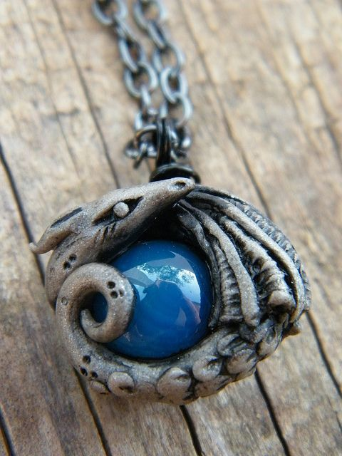 Pendant - Blue agate stone baked into a polymer clay pewter colored dragon.: