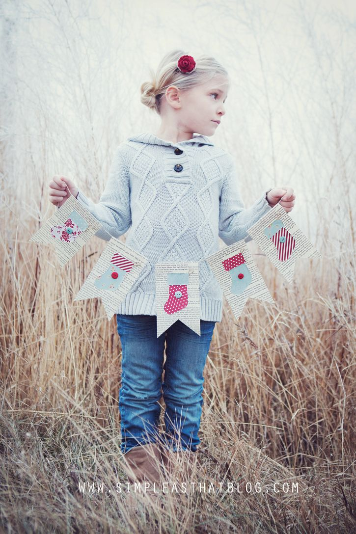 Simple Christmas bunting using book pages + paper scraps. Easy + oh-so cute!