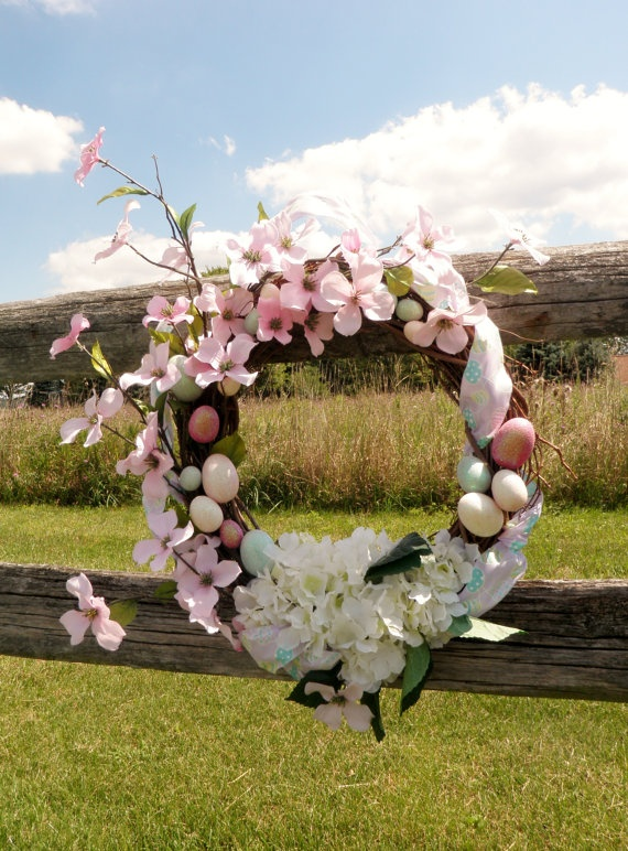 Easter Spring Wreath by CoutureFrontDoor on Etsy, $50.00