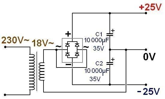 dual dc power using 2 terminal transformer