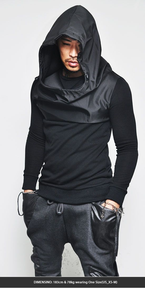 Tops :: Hoodies :: Oversized Big Hood Contrast Slim Pullover-Hoodie 55 - Mens Fashion Clothing For An Attractive Guy Look