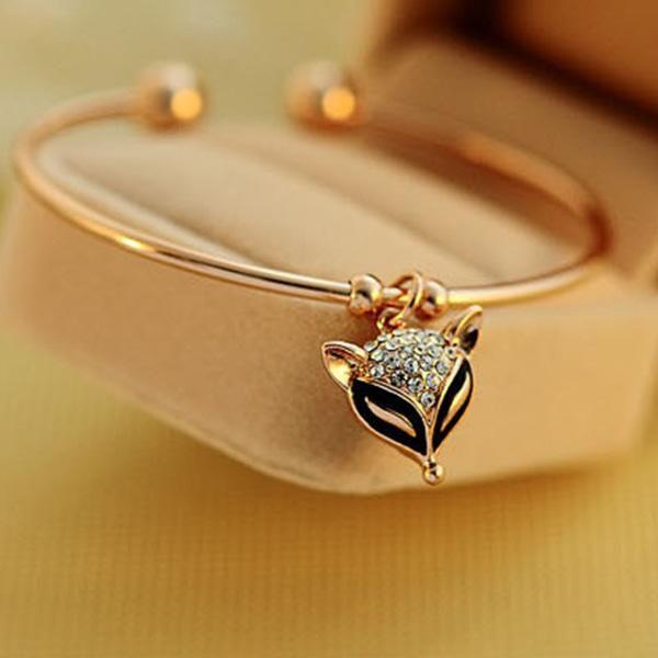 Brățară Elegantă Pentru Femei Cu Pandantiv In Formă De Vulpe Rhinestone Pendant Gold Plated Bracelets Pendant Bracelet