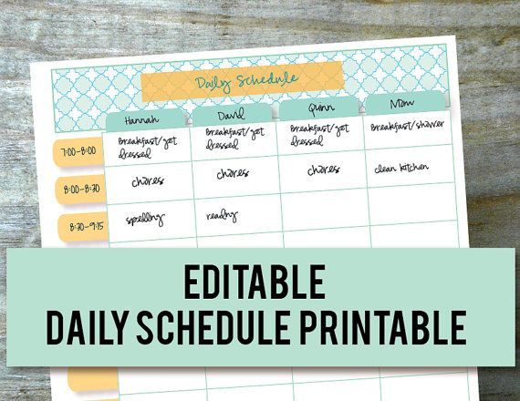 Daily Schedule Hourly Printable EDITABLE, Planner for Moms ...