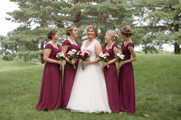 Elegant long burgundy bridesmaid dresses from House of Brides (Heritage Photography)