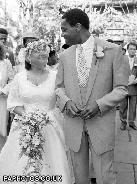 Comedian Lenny Henry and Dawn French on their wedding day at St. Paul's Church, Covent Garden London in 1984.