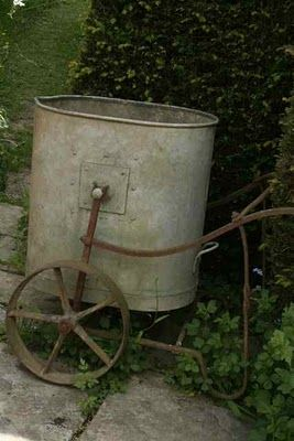 old water bucket cart - love...boy would I love to water the garden if I had this!!