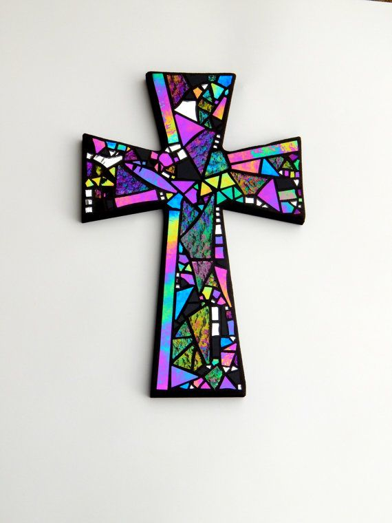 "Large Mosaic Wall Cross, Black with Iridescent + Textured Glass + Silver Mirror, Handmade Stained Glass Mosaic Design, 15"" x 10"" by GreenBananaMosaicCo on Etsy"