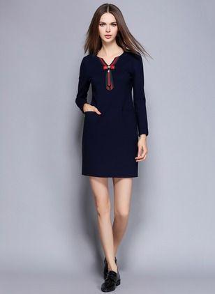 Stałe bawełniane z długim rękawem Powyżej kolan sukienki na co dzień