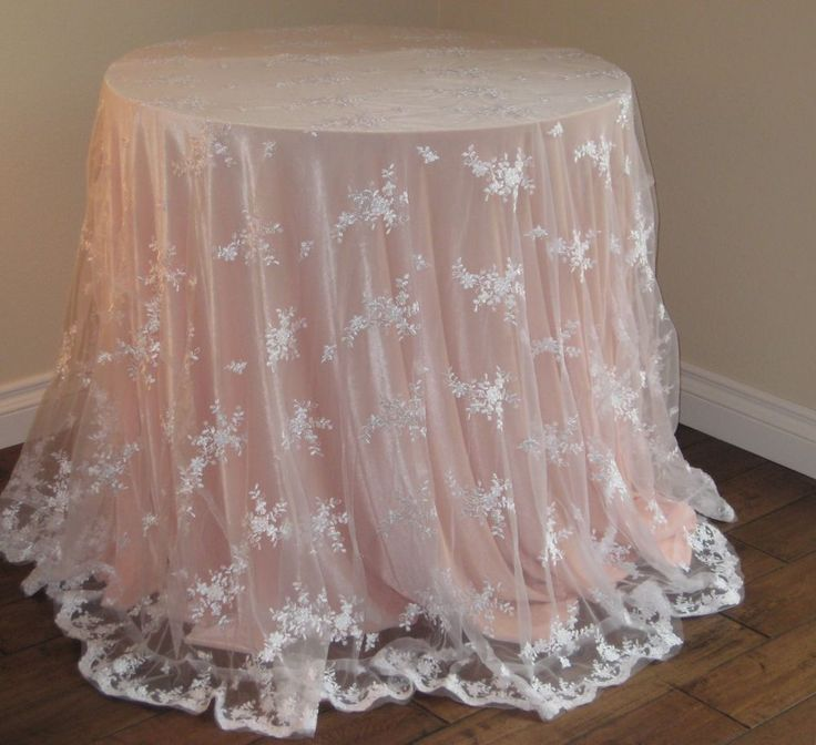 """WHITE LACE TABLE OVERLAY, TABLECLOTH, 90"""" ROUND for a ..."""