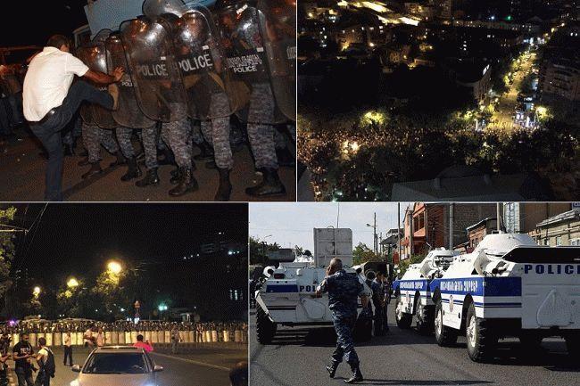 Участники акции протеста в Ереване перекрыли проспект Баграмяна в центре города. Там находятся правительственные здания, в том числе Национальное собрание и администрация президента