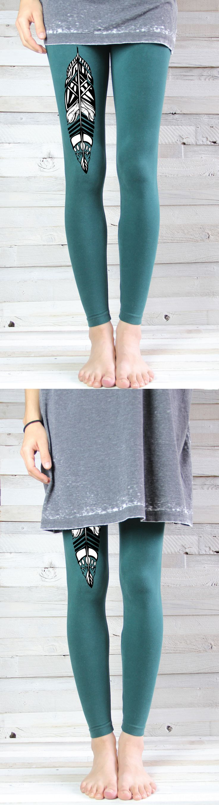 Feather Yoga Leggings - Yoga Pants - by ArimaDesigns.etsy.com