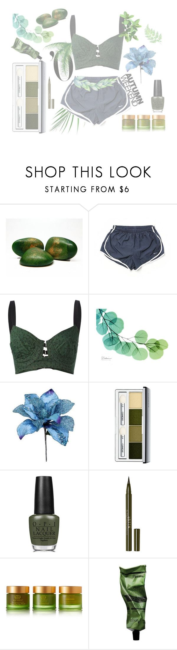 """Lives"" by galaxy-moon-stars ❤ liked on Polyvore featuring NIKE, Jean-Paul Gaultier, Clinique, OPI, Stila, Tata Harper, Aesop and plants"